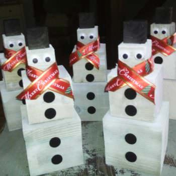 Snowmen For Christmas, Handmade From Timber Off Cuts