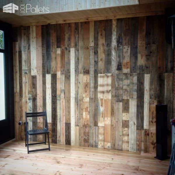 Covering The Wall Of My Veranda With Discarded Pallets Pallet Walls & Pallet Doors