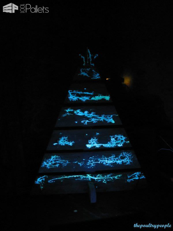 A Pallet Christmas Tree With Glow In The Dark Captured Lightning! Pallet Home Accessories