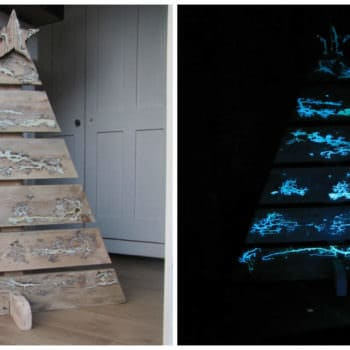 A Pallet Christmas Tree With Glow In The Dark Captured Lightning!