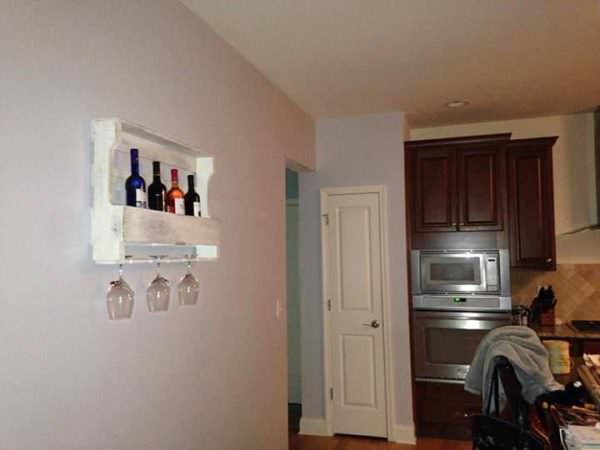 Antique White Wine Rack Made Out of Pallets Pallet Shelves & Pallet Coat Hangers