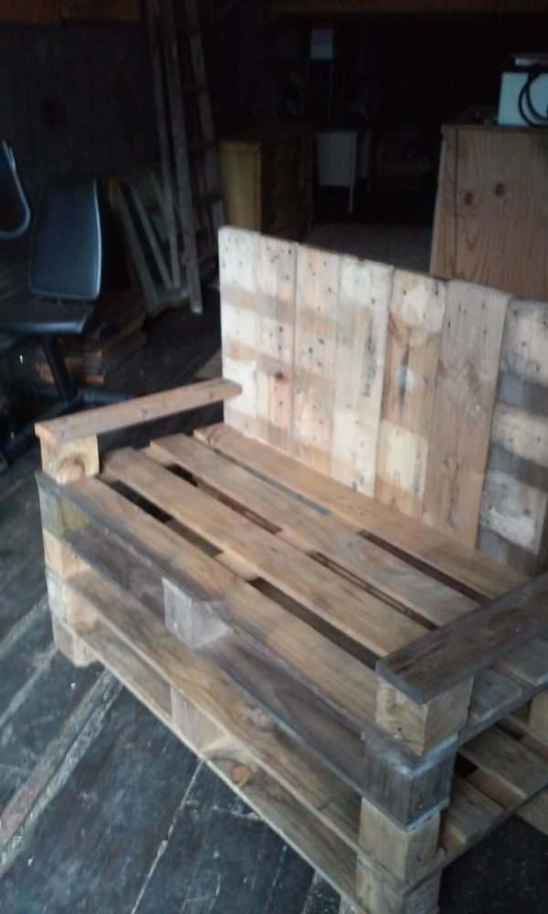 Bill's Bench: Love Seat From Three Pallets Pallet Benches, Pallet Chairs & Stools