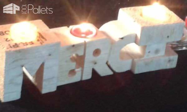 Candlestick in the Form of Letters Made out of Pallet Blocks Pallet Candle HoldersPallet Lamps, Pallet Lights & Pallet Lighting