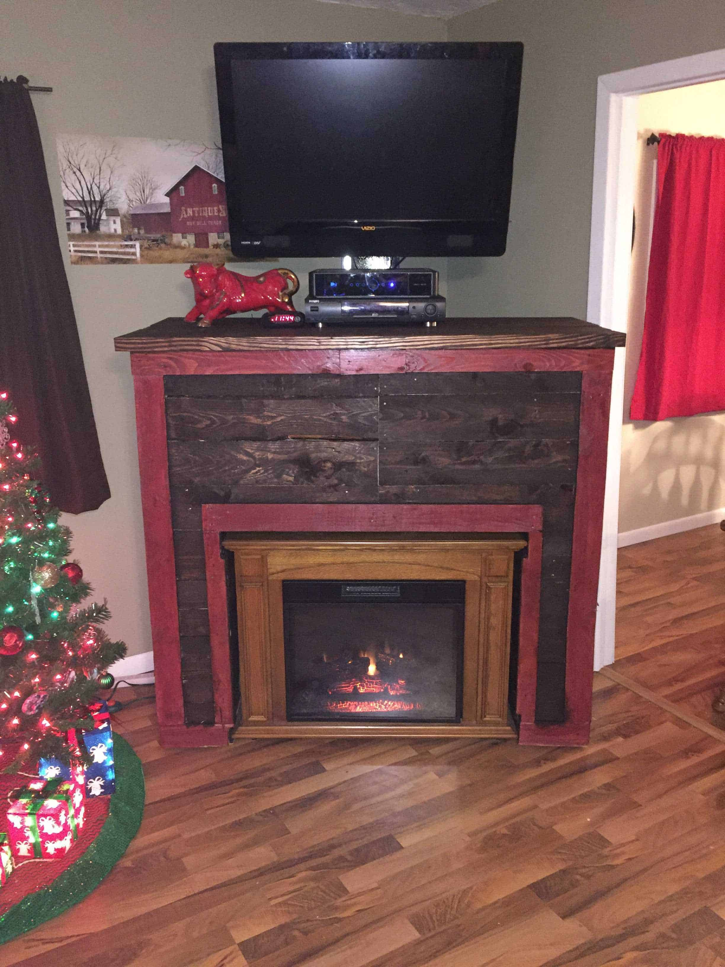 entertainment tv stand u0026 faux fireplace from recycled pallets