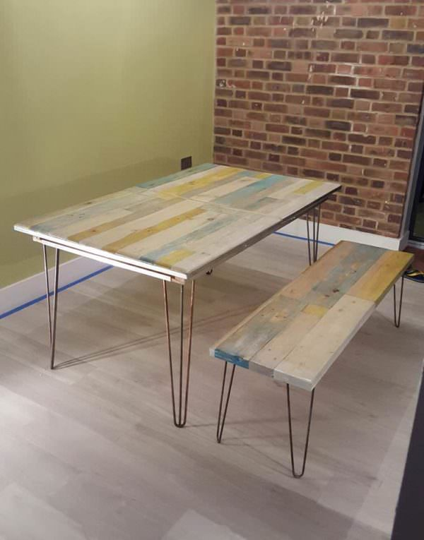 Extendable Pallet Table With Matching Bench & Coffee Table Pallet Desks & Pallet Tables