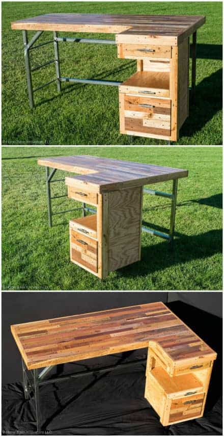 Industrial Standing Executive Desk From Repurposed Pallets