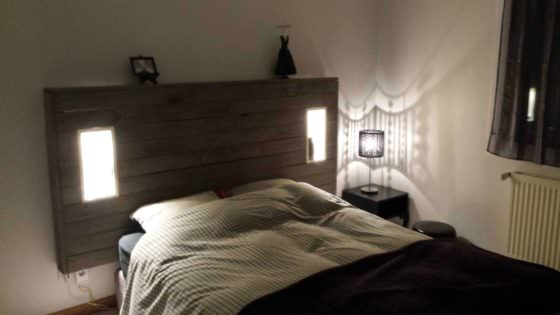 My Pallet Headboard With Lights Amp Electric Outlet 1001