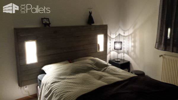 My Pallet Headboard With Lights & Electric Outlet DIY Pallet Bed, Pallet Headboard & Frame