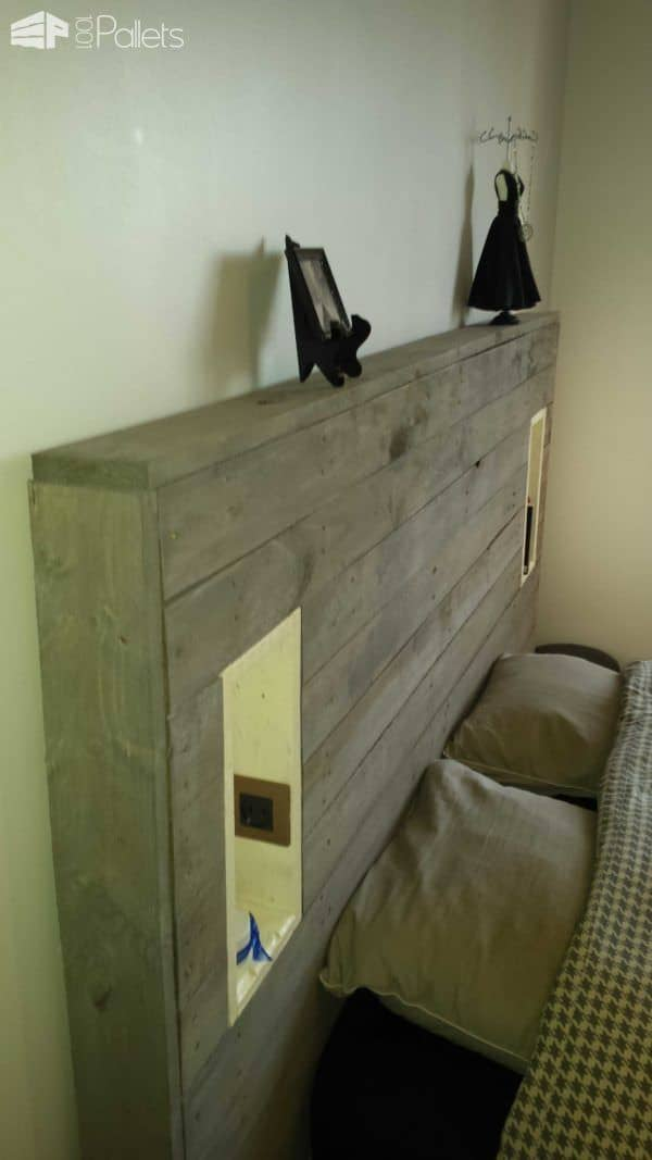 My pallet headboard with lights amp electric outlet 1001 pallets