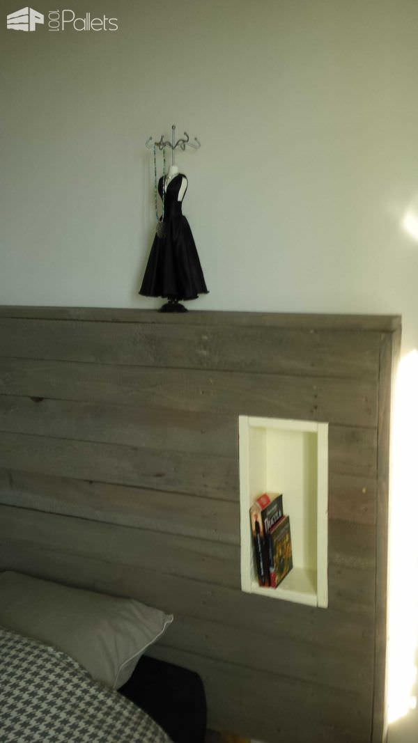 My Pallet Headboard With Lights & Electric Outlet DIY Pallet Beds, Pallet Bed Frames & Pallet Headboards