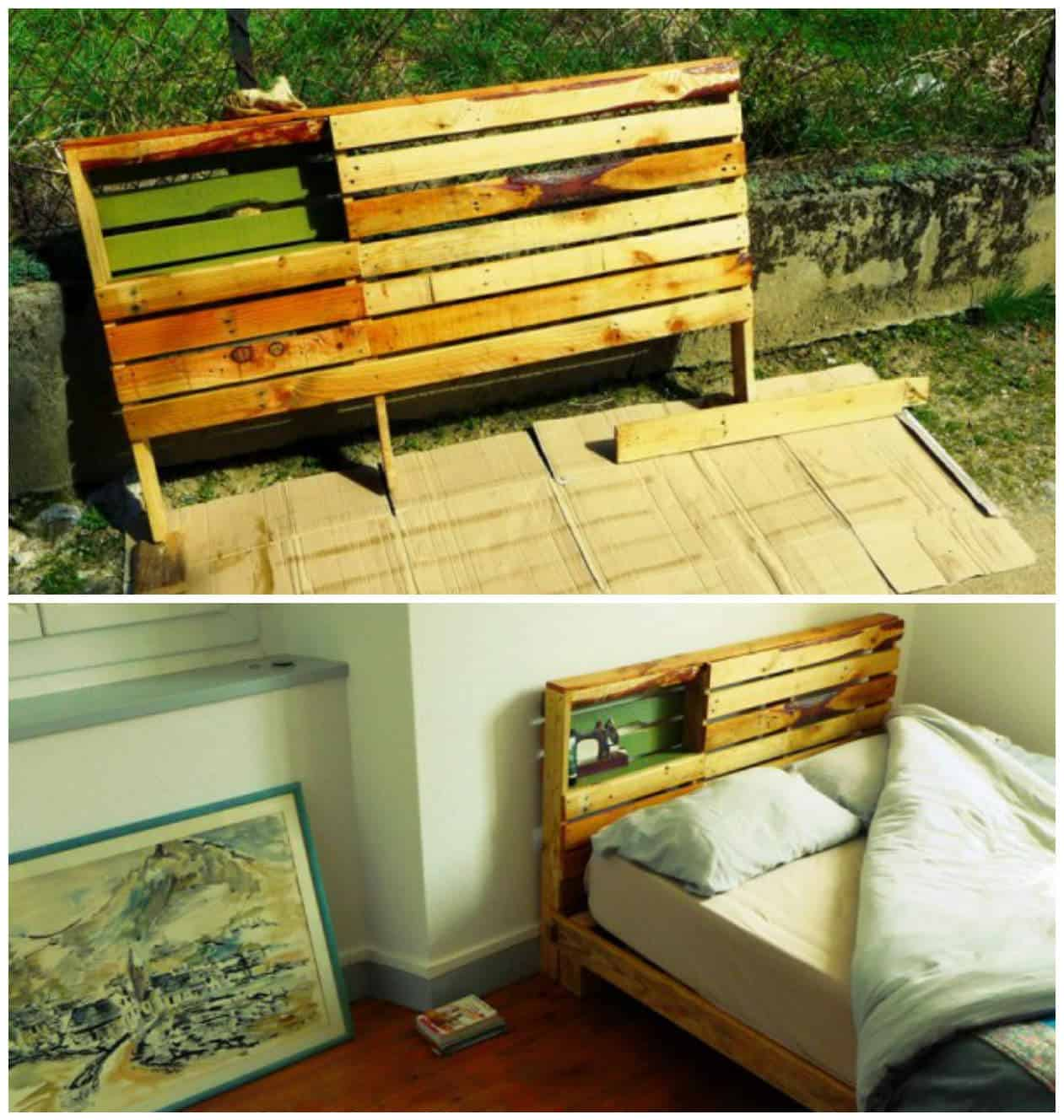 New pallet bed frame headboard for our new home 1001 for Bed frame made from pallets