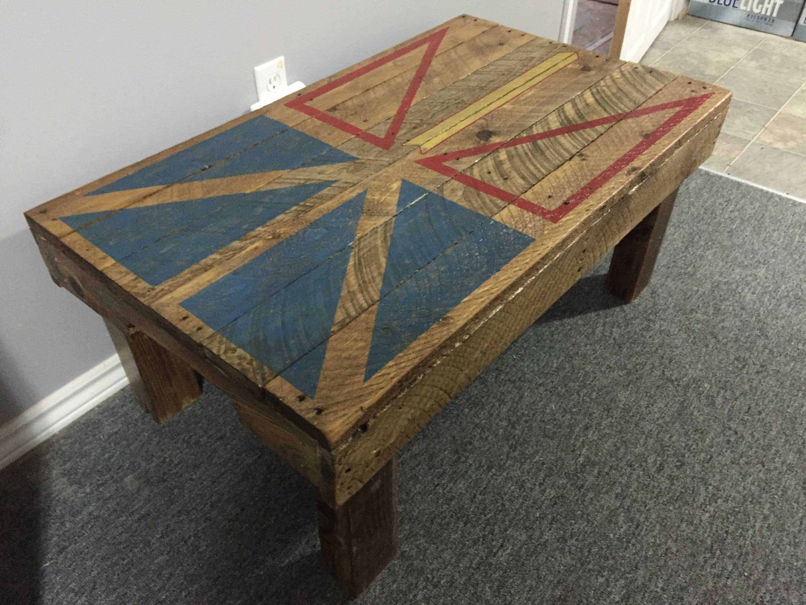 Newfoundland Flag Coffee Table From Pallet Wood • 1001 Pallets