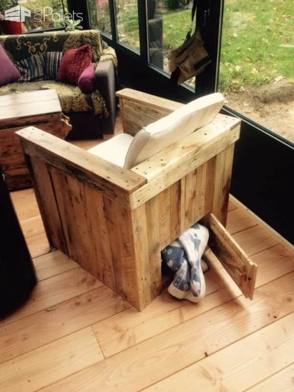 Pallet Armchair with Storage for the Blanket during Winter Evenings Pallet Benches, Pallet Chairs & Stools