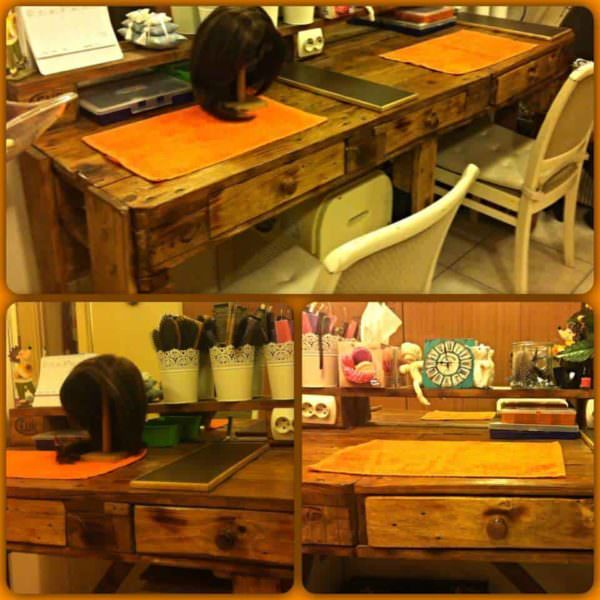 Pallet Hairdresser's Table Pallet Desks & Pallet Tables