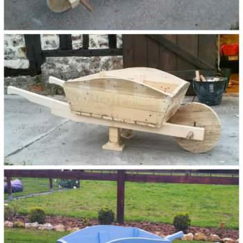 Pallet Wheelbarrow Used as a Planter & Decoration for My Garden