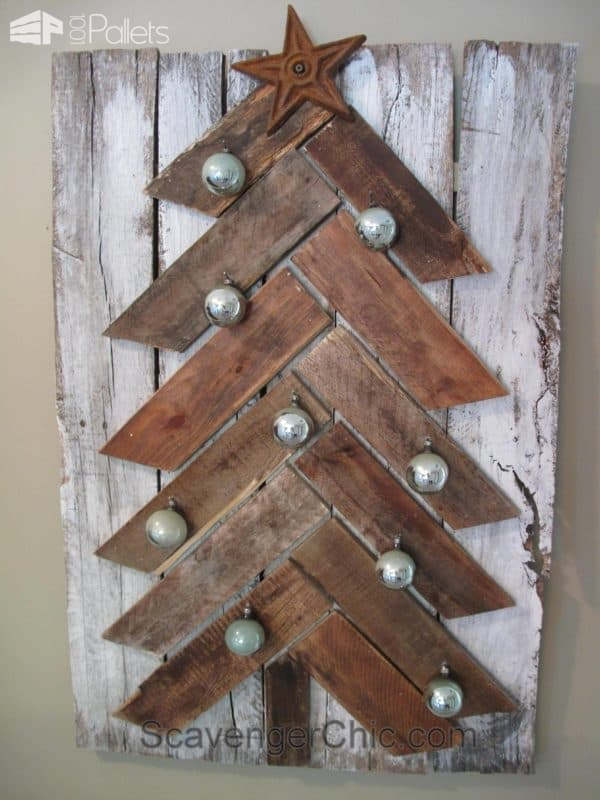 Pallet Wood Christmas Tree With Pallet Leftovers Pallet Wall Decor & Pallet Painting
