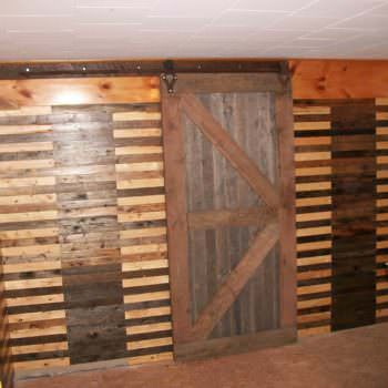 Walls & Sliding Barn Door Made from Pallets