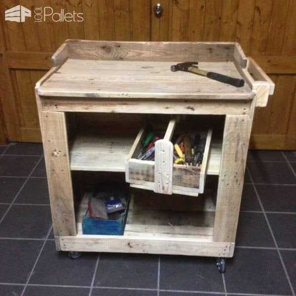 Working Trolley & Toolbox Made From Pallet Wood Pallet Cabinets & Pallet Wardrobes