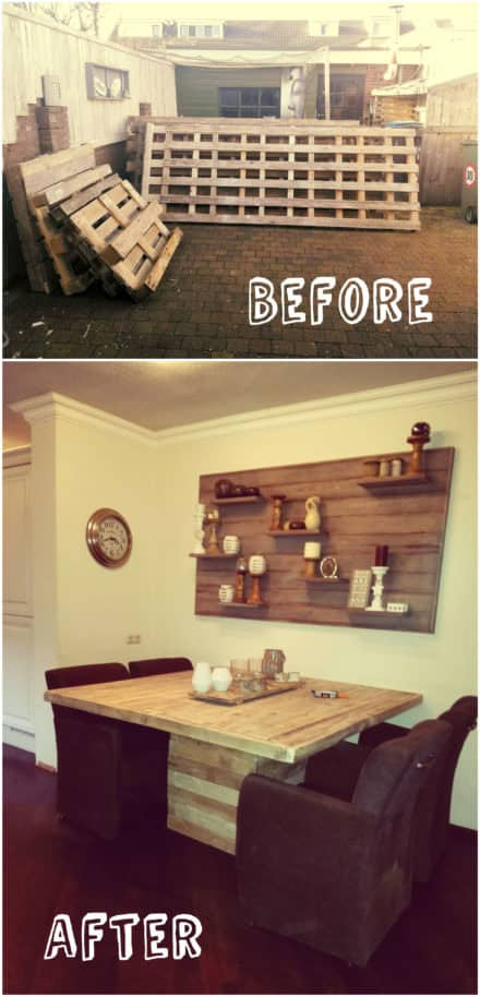 20$ Square Dinner Table from Pallets