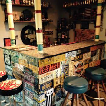 Bar Made from Repurposed Pallets & Car Plates