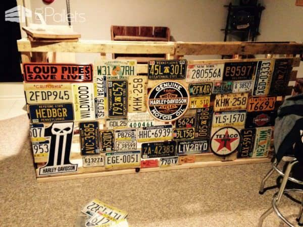 Bar Made from Repurposed Pallets & Car Plates Pallet Bars
