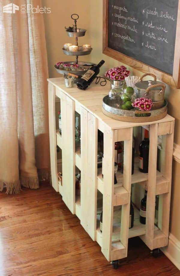 Diy Rolling Pallet Bar Cart Pallet Bars
