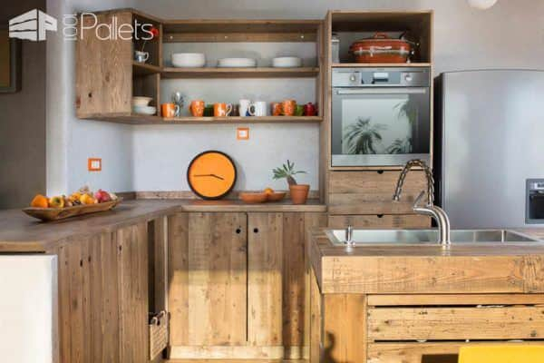 Entire Modern Kitchen Made Out Of Pallets