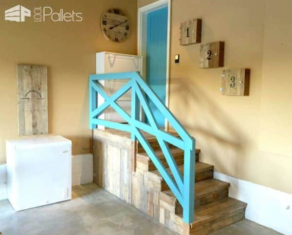 Garage Stairs Makeover With Pallets Pallet Staircase