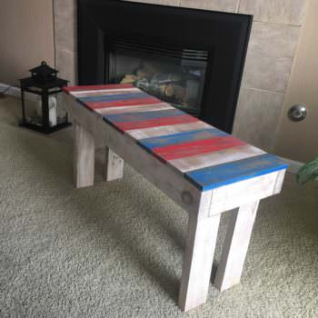 Lil Red, White & Blue Pallet Bench