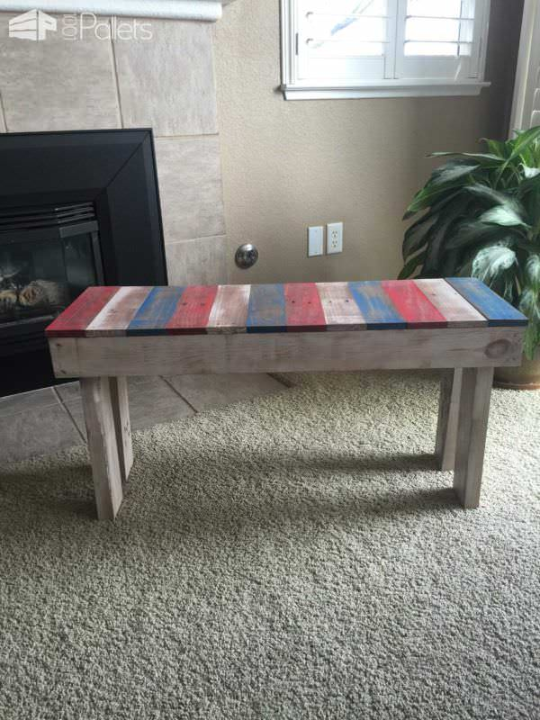 Lil Red, White & Blue Pallet Bench Pallet Benches, Pallet Chairs & Pallet Stools