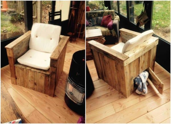 Pallet Armchair with Storage for the Blanket during Winter Evenings