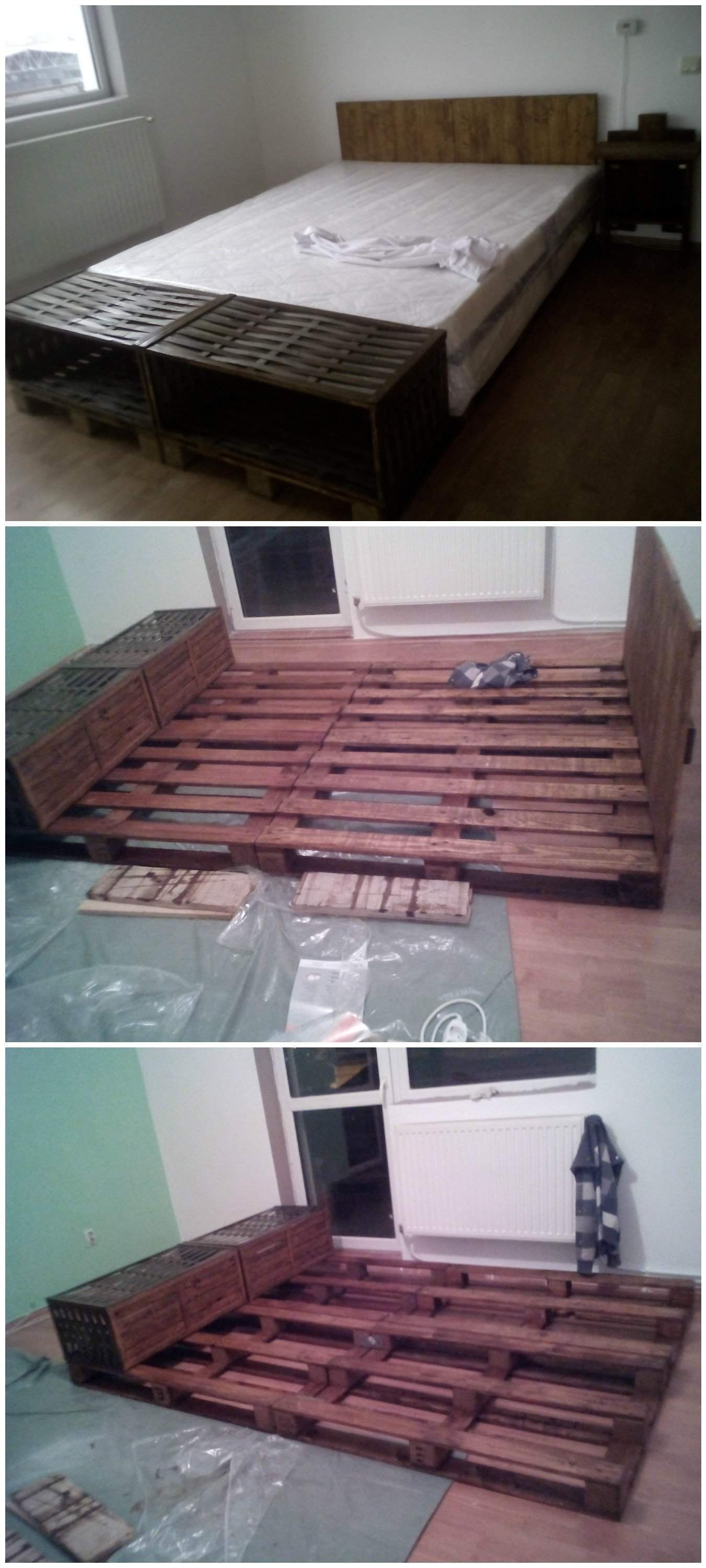 Pallet bed headboard out of 4 recycled pallets 1001 for How to make a headboard out of pallets