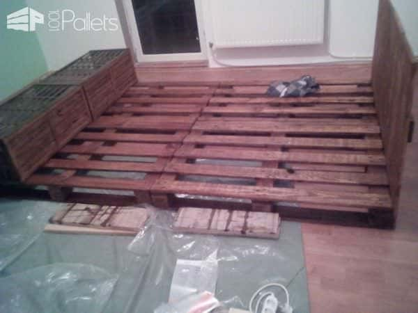 Pallet Bed & Headboard Out of 4 Recycled Pallets DIY Pallet Bed, Pallet Headboard & Frame