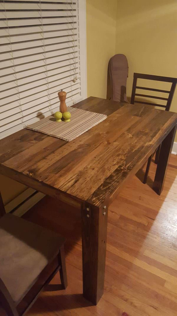 Pallet dining table first diy project 1001 pallets for Pallet dining table
