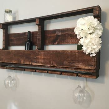 Rustic Pallet Wine Rack For 10 Bottles & 7 Glasses