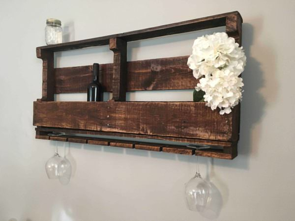 Rustic Pallet Wine Rack For 10 Bottles & 7 Glasses Pallet Shelves & Pallet Coat Hangers