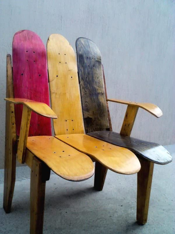 Skateboard Chair Pallet Benches, Pallet Chairs & Stools