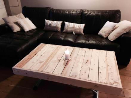 Coffee tables diy wood pallet projects ideas 1001 - Table basse transformable en table haute ...