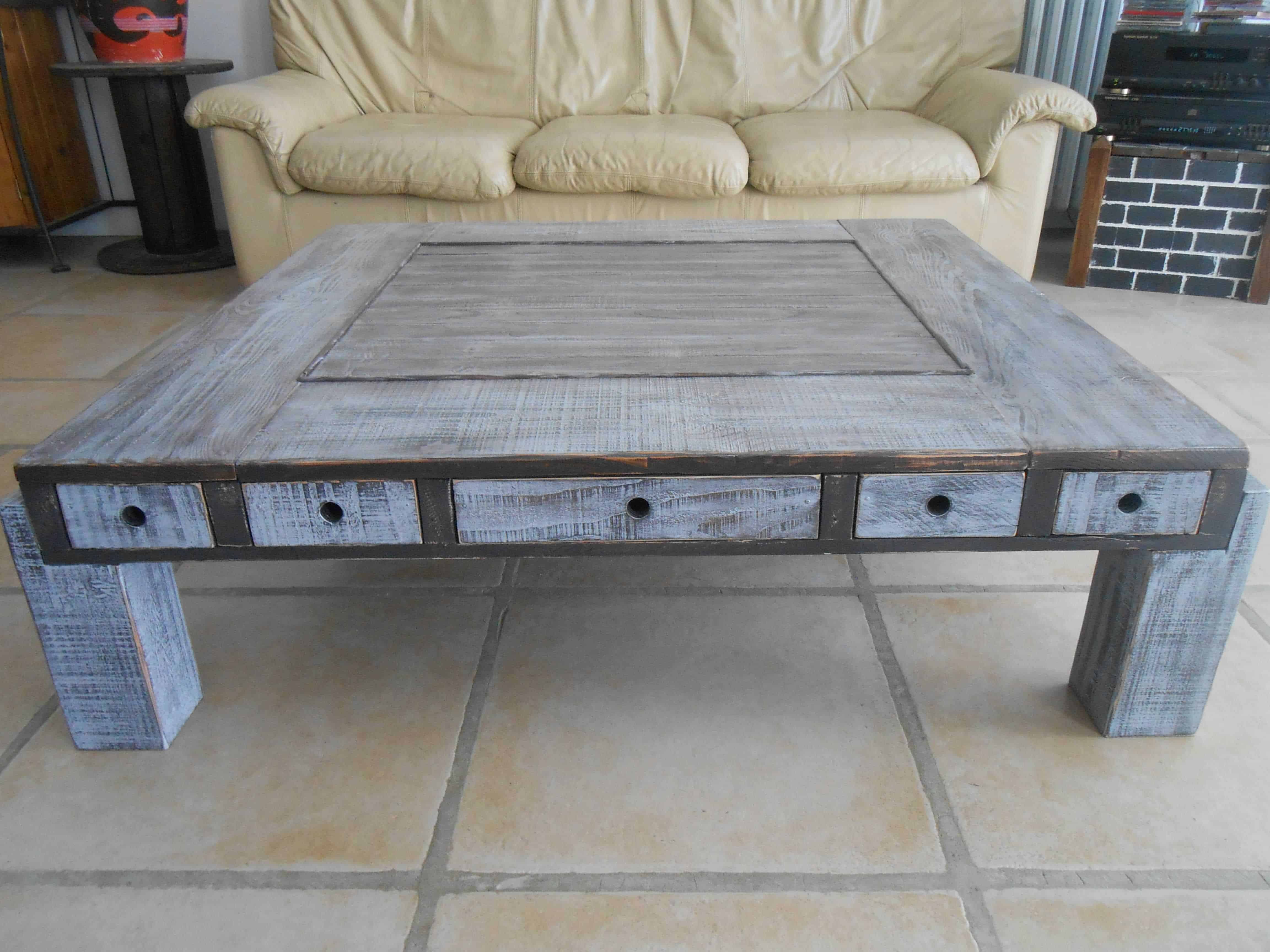 Table basse palette et pin douglas pallet douglas fir coffee table - Fabrication table basse palette ...