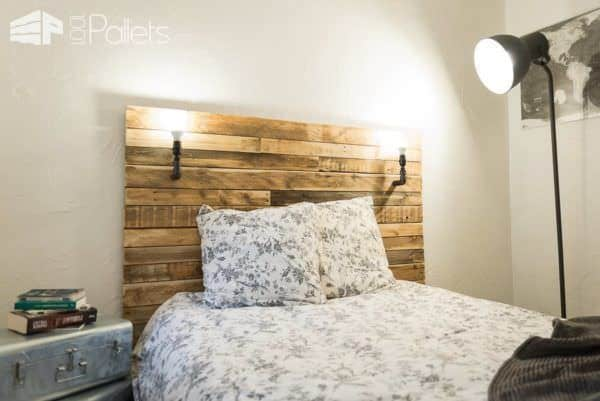 t te de lit pallet bed headboard pallet ideas 1001. Black Bedroom Furniture Sets. Home Design Ideas