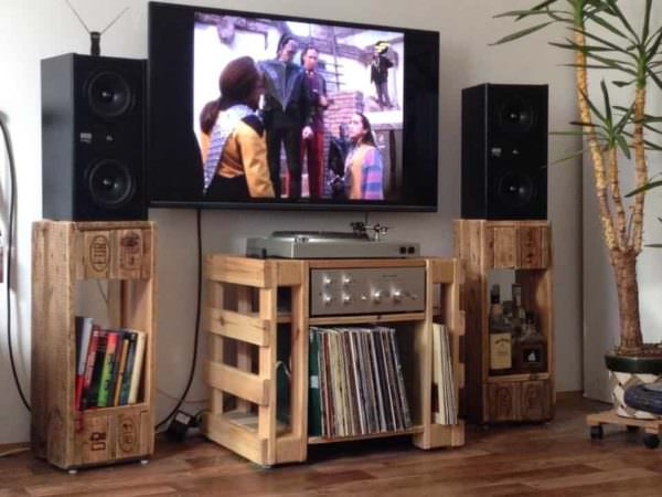 Turntable/Hi-fi/Lp Table & Speaker Stands Pallet TV Stands & Racks