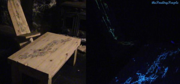 Viking Chair With Lichtenberg Figure Filled With Glow In The Dark Resin! Pallet Benches, Pallet Chairs & Stools