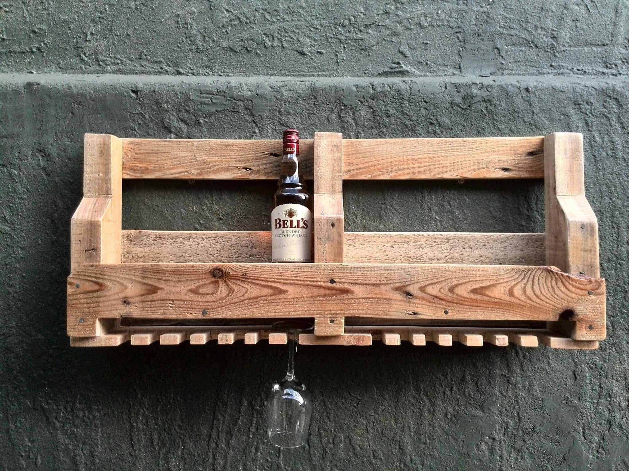 6 bottle wine rack glass holder 1001 pallets for Weinregal palette