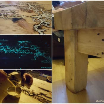 Chunky Pallet Coffee Table With Glow In The Dark Resin