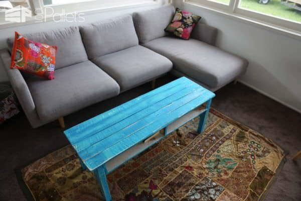 Coffee Table from One Pallet - Painted to Give a Rustic Look Pallet Coffee Tables