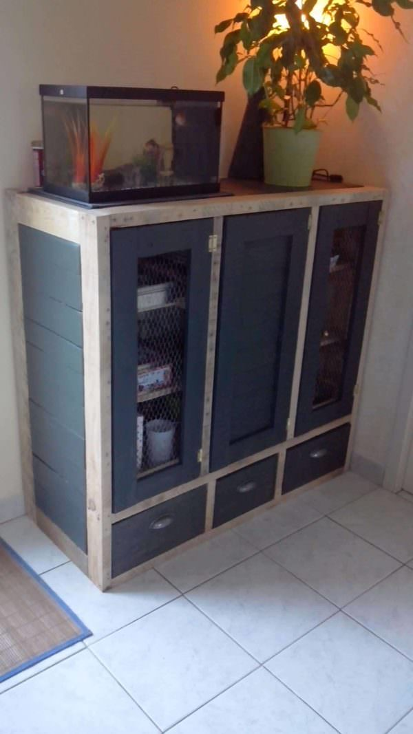Meuble De Rangement / Pallet Enclosed Cabinet Pallet Cabinets & Pallet Wardrobes