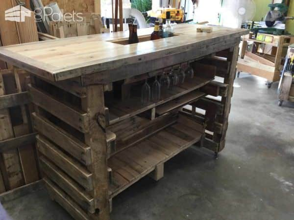 Pallet Bar with Built in Insulated Ice Box DIY Pallet Bars