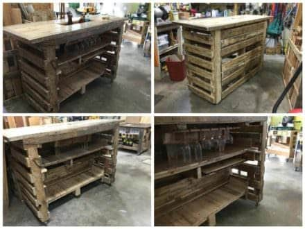 Pallet Bar with Built in Insulated Ice Box
