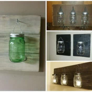 Pallet Used for Mason Jar Candle Holders
