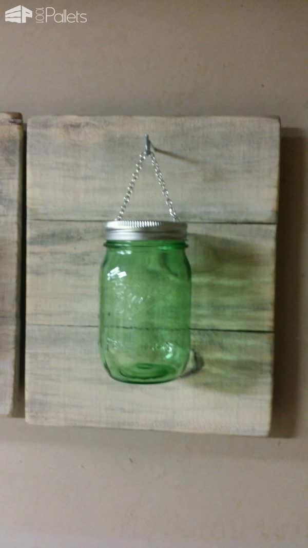 Pallet Used for Mason Jar Candle Holders Pallet Candle Holders